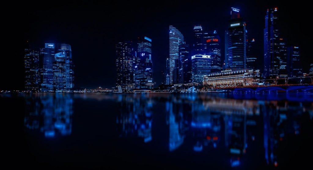 blue led city